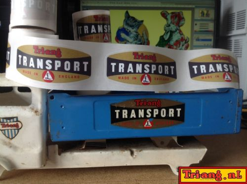 "Set of 2 Tri-ang Junior "" Tri-ang Transport "" decals "" Peel & stick "" clear with White background"